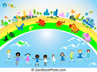 kids caravan - vector kids caravan, kids, cars and animals