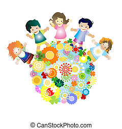 kids and planet; joyful illustration with planet earth,...