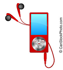 mp3 player - black mp3 player on white background;...