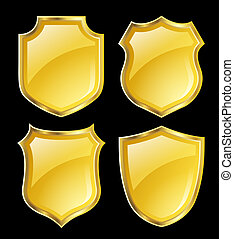 shield design set - yellow shield with gloden border; design...