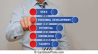 Personal Development - Businessman pressing an imaginary...