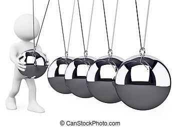 3D white people. Newton's Cradle - 3d white person playing...