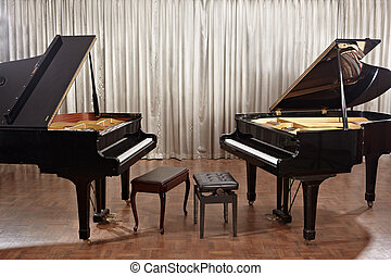 Grand piano on stage - Two grand pianos on stage without no...