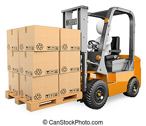 3D white people. Forklift with a pallet - 3d white person...