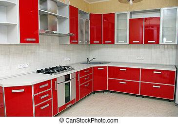 elegante, cocina, moderno, casa