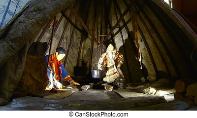 Chukchi living in a hut