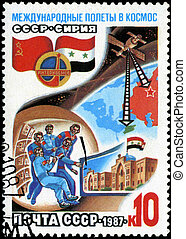 USSR - CIRCA 1987: A post stamp printed in USSR divided to...