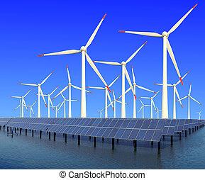 Wind, Energie, Ausschüsse,  Turbine, sonnenkollektoren