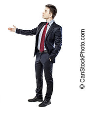 young attractive business man in black suite on white...