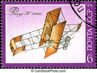 """USSR - CIRCA 1974: A stamp printed by USSR (Russia) shows Sikorsky Aircraft with the inscription """"Russia A (1910)"""", from the series """"The history of aviation in Russia"""", circa 1974"""