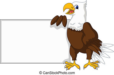 eagle cartoon with blank sign - vector illustration of eagle...