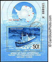"""USSR - CIRCA 1986: A Stamp printed in the USSR shows the vessel """"Michael Somov"""", circa 1986"""