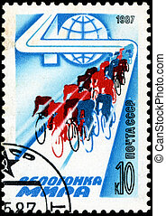 USSR - CIRCA 1987: The postal stamp printed in USSR is shown by the Peace Race, CIRCA 1987. Group of bicycle racers
