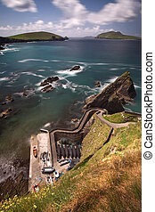 Dunquin Pier where ferry boats connect with the Blasket...