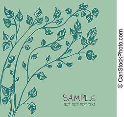 card template with ink tree drawing