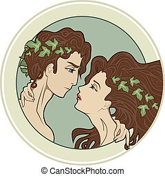 Couple of lovers - People in art-nouveau style
