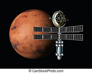 The Flight to Mars - Computer generated 3D illustration with...