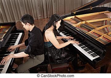 dúo, pianos