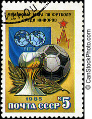 USSR - CIRCA 1985: A stamp printed by USSR shows football players. Junior World Championship, series, circa 1986