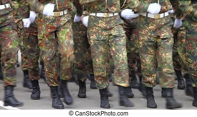 Soldiers marching 9 - Formation of soldiers in dress parade...