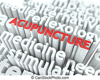 Acupuncture. The Wordcloud Medical Concept. - Acupuncture -...