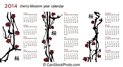 Calendar 2014, ink cherry blossom twigs, horisontal,...