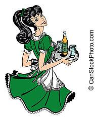 Patricks day theme retro waitress