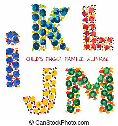 colorful funny paint alphabet i,k,l,m,j letters
