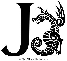 capital letter J with gargoyle