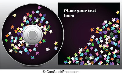 cd design in disco style with rainbow stars on purple