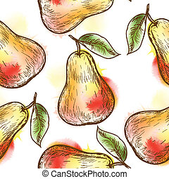 Seamless pattern with pear. Painted in watercolor style