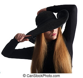 Close up portrait of a female fashion model posing in black hat