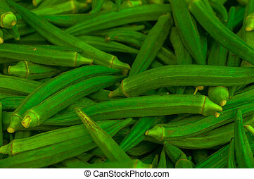 Fresh Raw Green Lady Finger Okra - Fresh Raw Green Lady...