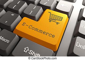 Keyboard with E-Commerce Button. - Orange E-Commerce Button...
