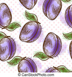 Seamless pattern with plum. Painted in watercolor style