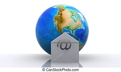 E-mail icon - World with e-mail icon