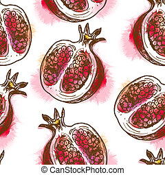 Seamless pattern with pomegranate Painted in watercolor...