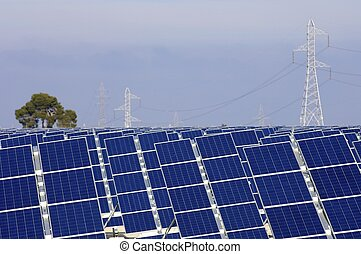 photovoltaic panels - Huge solar field and pylons