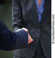 Businessman and business woman handshake - Close up...