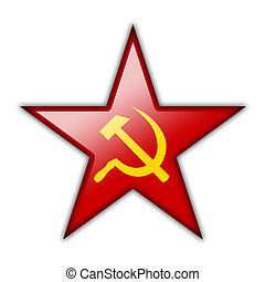 Glossy icon in the shape of the red star with the symbols of...