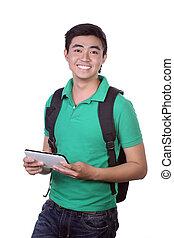 Asian man holding a digital tablet