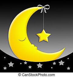 Sweet Dreams - sleeping moon with star