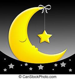 Sweet Dreams - sleeping moon with star