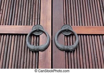 Double Door - wood grain double door