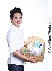 handsome man with recyclable box - picture of handsome man...