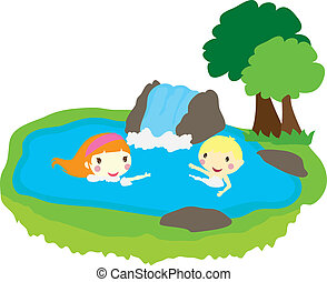 two kids swimming in a pool with nature