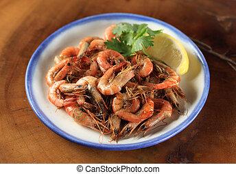 Fried whole shrimp appetizer