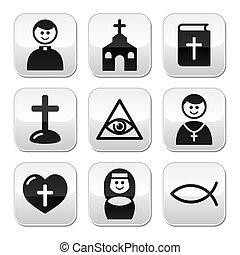 religião, católico, igreja, botão, jogo