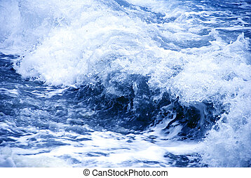 Storm blue wave - big storm wave formation over blue water