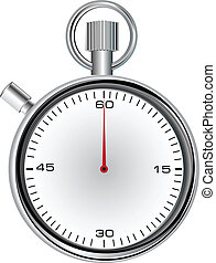 Stopwatch with 60 second dial for timekeeping time. Vector...